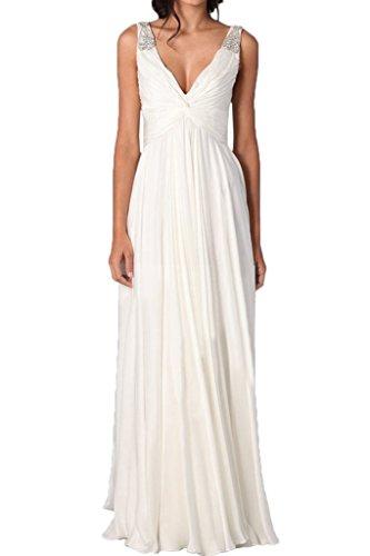 Ivydressing Damen Modern V-Ausschnitt A-Linie Traeger Mit Steine Partykleid  Promkleid Festkleid Abendkleid