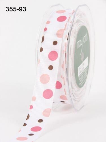 Pink & Brown Bubble Dots grosgrain by May Arts su una lunghezza di 3m (N.B.: (Brown Dot Del Nastro Del Grosgrain)