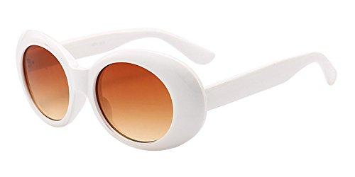 BOZEVON Retro Ovale Sonnenbrille - UV400 Schutzbrillen für Damen & Herren Weiß-Dunkelbraun