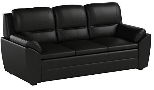 KMH®, Gemütliches 3-sitzer Sofa Prag mit schwarzem Kunstlederbezug (#204672)