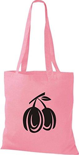 ShirtInStyle Stoffbeutel Baumwolltasche Dein Lieblings Obst und Gemüse Pflaumen Farbe Pink rosa