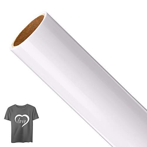 AIEX Weiß Plotterfolie Textil Vinylfolie Plotter Flexfolie Bügelfolie für T-Shirt DIY Kunst(12 Zoll x 5 fuß)