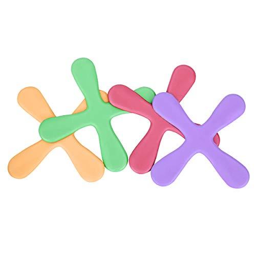 LegendTech 4 STÜCK Boomerang Bunte Fliegende Spielzeuge Weiche Eva-Kunststoffe Bumerang Zum Kinder Spiel für Drinnen 26 * 26 cm Rot Lila Orange Grün