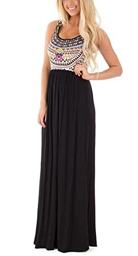 Happy Sailed Women Sleeveless Boho Printed Loose Long Maxi Casual Dress