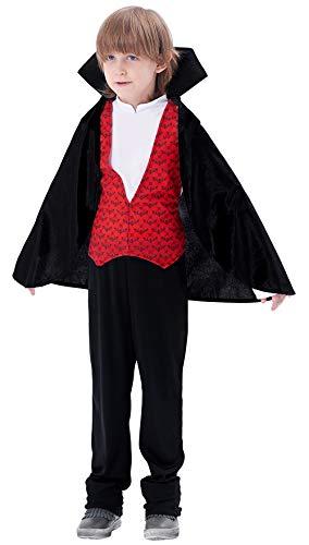 IKALI Vampir Kostüm Kinder, Gothic König der Blutsauger Dracula Verkleidung Avec Umhänge Pour Karneval ()