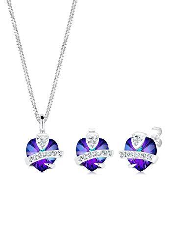 Elli Schmuckset Elli Damen Schmuckset Herz Glamourös mit Swarovski Kristallen in 925 Sterling Silber