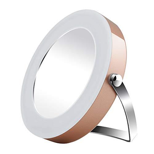 3 X Loupe Lighted Miroir de maquillage, Cosmétique Miroir de courtoisie de voyage compact à piles Portable pivotant Maquillage rasage Miroir de salle de bain free size Champagn