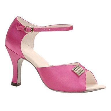Scarpe da ballo-Personalizzabile-Da donna-Balli latino-americani / Jazz / Salsa / Scarpe da swing-Tacco su misura-Raso / Brillantini- vivid pink