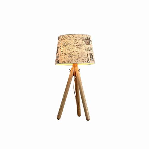 Holz Schreibtischlampe Stativ Schreibtisch Licht Stoff Lampenschirm Tischlampe Studie Lampe Nachttischlampe (E27) (Natürliche Stile Noni)