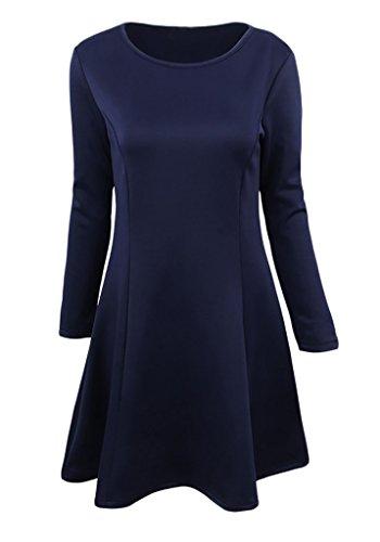 Damen Enges Kleid Skaterkleid Swing Lange Ärmel Rundkragen Waist Uni-Farben Vintage Figurbetont Die Neue Einteiler Basic 2017 Blau