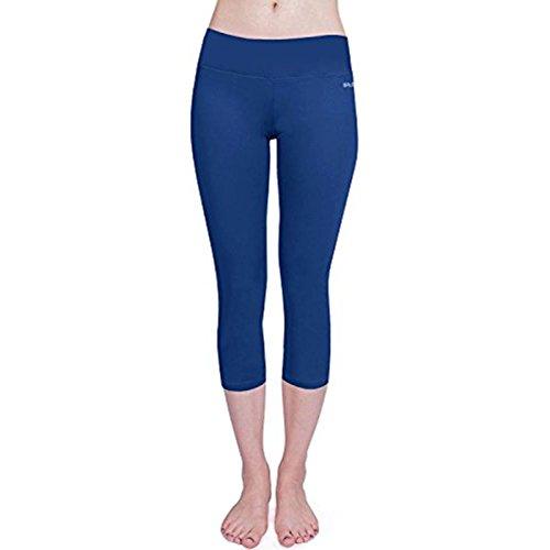 Baleaf Damen Yoga Sport Hose Workout Training CapriLeggings Innentasche Blau Größe L -