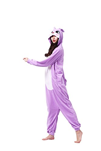 Imagen de magicmode unisex cosplay disfraces de animales kigurumi pijamas adultos enterizo anime sudadera con capucha ropa de dormir de color púrpura conejo s alternativa