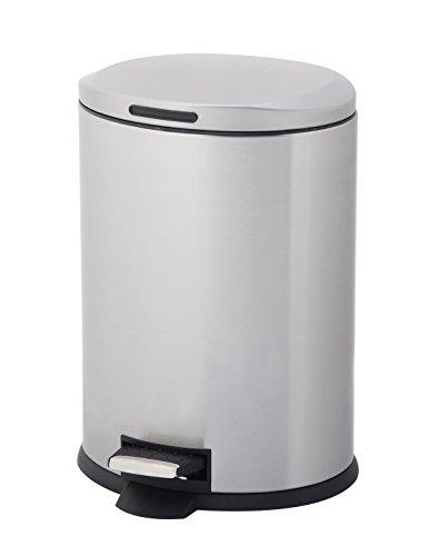 HomeZone 12-liter Edelstahl Oval Schritt Trash kann (Schritt Mülleimer Groß Küche)
