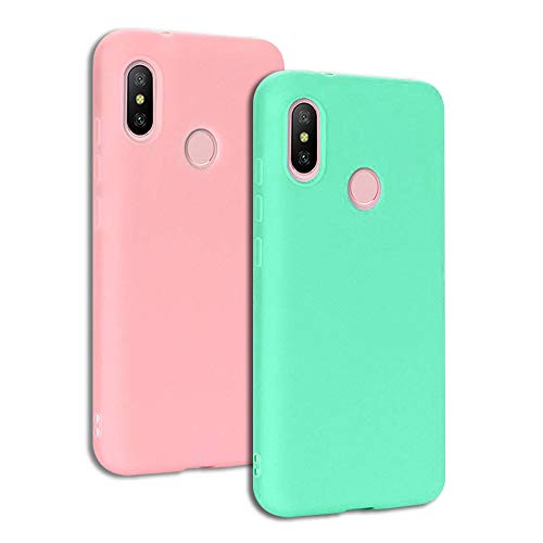 EuCase 2X Funda Xiaomi Redmi S2 Silicona Carcasa Redmi Y2 Antigolpes Suave TPU Flexible Goma Mate Ultra Delgada Goma Color Cubierta Protector Bumper Case para Caja Tapa Carcasa Rosa Verde
