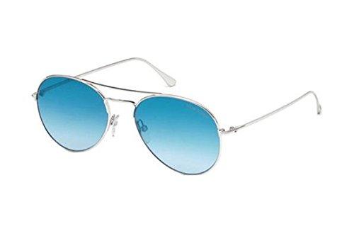 Tom Ford - ACE-02 FT 0551, Steersman (tropfenförmig), Metall, Herrenbrillen, SILVER/BLUE SHADED (18X), 55/17/145