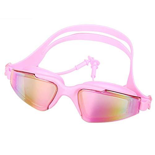 Schwimmbrillen für Männer Frauen Mädchen HD Myopie Brille wasserdicht Anti-Fog-überzogen verbunden Ohrstöpsel Schwimmbrille pink -4.0 Schwimmbrille mit Antibeschlag und UV Schutz -