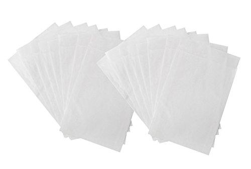 Preisvergleich Produktbild 100 kleine weiße Mini-Papier-Tüten-Tütchen Papier-Flach-Beutel aus Pergamin-Papier, Größe: 9,5 x 13 + 2 cm (Lasche), leicht durchsichtig für Gastgeschenke, Mitgebsel, give-aways