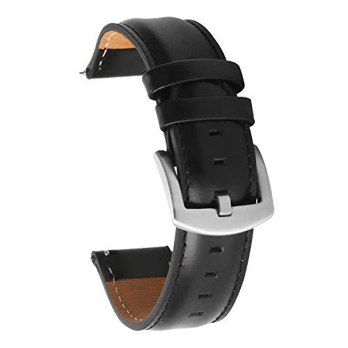 Schnellspanner-Uhrenarmband 20mm für Männer Frauen Lederarmband 20mm schwarz