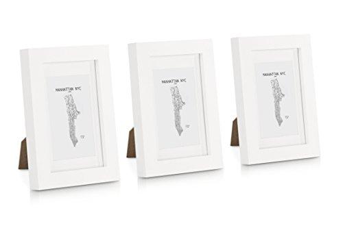 Echtholz Bilderrahmen 10x15 mit Glasscheibe - 3er Set - Weiß - Mit Passepartout - Rahmenbreite 2cm!