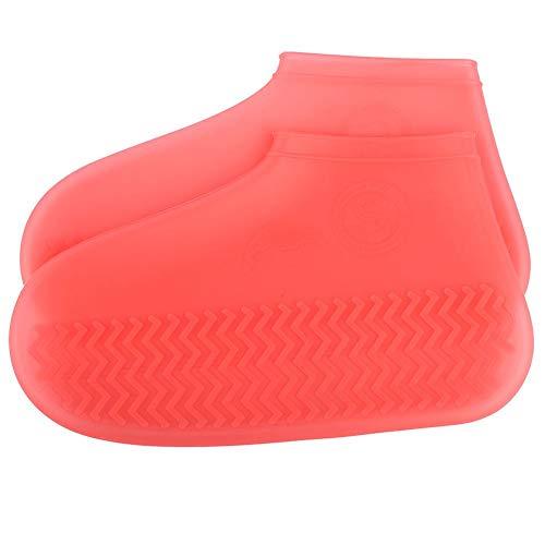 Bnineteenteam Wiederverwendbare Silikon-Regenschutzhüllen, Wasserdichte Überschuhe für Herren, Damen, Kinder - 1 Paar (2 PCS) (S) (rot)