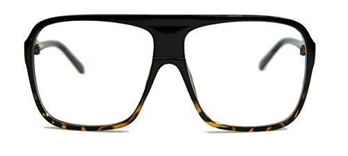 Old School Fashion Brille Nerdbrille 80er Jahre Flat Top Streberbrille F7 (Schwarz Ombre)