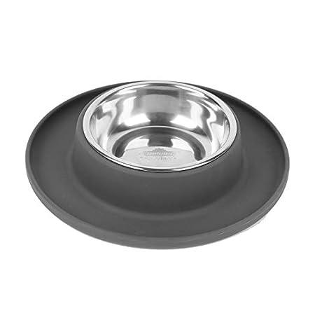 Dehner Hunde- und Katzennapf Clean Bowl, Ø 24 cm, Höhe 4 cm, 350 ml, Edelstahl/Silikon, dunkelgrau