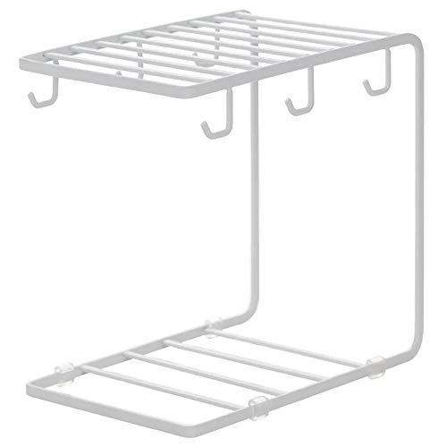 7U Metall-Kaffeebecherhalter Rack Organizer Ständer für Küchenschrank, Theke, Tisch, Tassen, Trocknen Ablage mit 6 Haken für große Tasse, 24,1 x 23,1 cm 9.5 x 9.1 x 5.9in weiß - Gefrierschrank Metall Für Rack