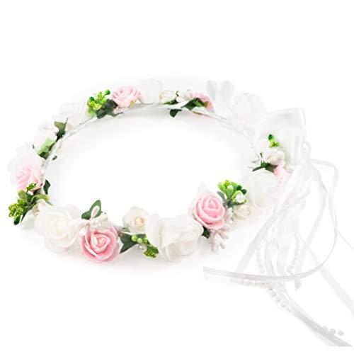 ️ Oia Kopfschmuck Erstkommunion Haarschmuck Blumenkranz Haare Haarreifen Mädchen blüten Haarschmuck haarkranz Hochzeit Rose Gold kommunion Kranz Weiß