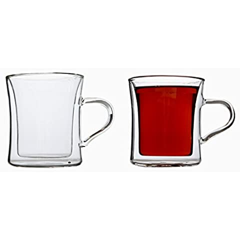 Lily's Home Double Wall Insulated Drinking Glasses For Tea, Glass Coffee Mugs, 10 Ounce, Set of 2 by Lily's Home