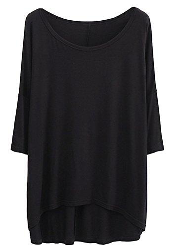 Ghope Damen Lose Langärmelig Basic Shirt Übergroße Unregelmäßigen Saum im Fledermaus-Look in verschiedenen Farben, Einheitsgröße, Schwarz