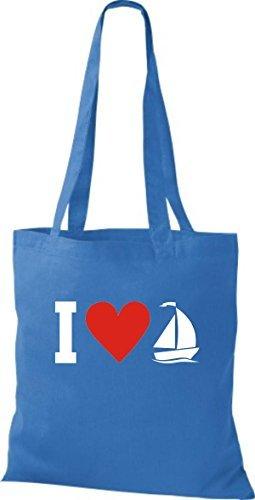 JUTA Borsa di stoffa I LOVE barca a vela, CAPITANO Blu reale