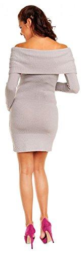 Zeta Ville Maternité - Robe en maille de grossesse style bardot - femme 909c Gris