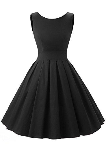Dressystar Robe à 'Audrey Hepburn' Classique Vintage 1950S Style Noir