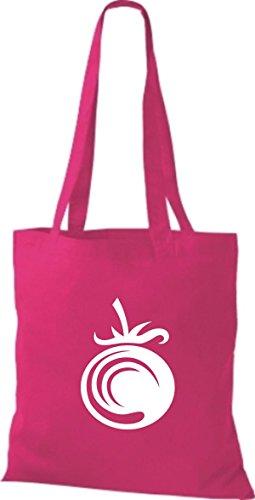 T-shirt Di Stoffa Di Cotone Tinta Unita La Tua Frutta E Verdura Preferita Color Pomodoro Rosa Rosa