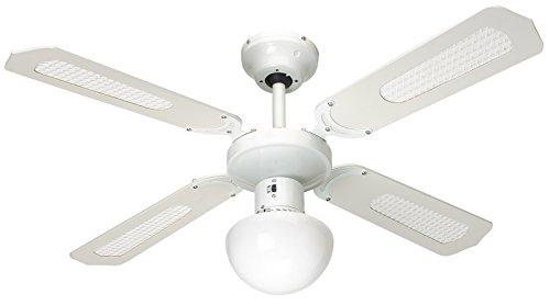 Farelek Bali 112420  Ventilatore da soffitto, 107 cm, colore: bianco/verde chiaro