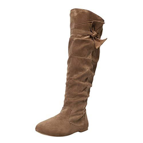 Xuthuly Winter Frauen Mode Retro Reine Farbe Reißverschluss Komfortable Flache Stiefel Klassische Elegante Bowknot Kniehohe Lange Stiefel