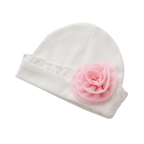 QinMM Neugeborenes Baby Mädchen Infant Kleinkind Blume Hut Baumwolle Weiche Hut Kappe Sonnenhut Strandkappe 0-1Y (Weiß) -