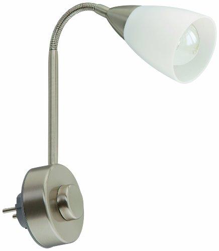 Briloner Leuchten 2491-012P Leseleuchte, Steckerleuchte, Steckerlampe, 1 x E14, 25 Watt, inkl. Flexarm, Drehdimmer an Leuchte, matt-nickel
