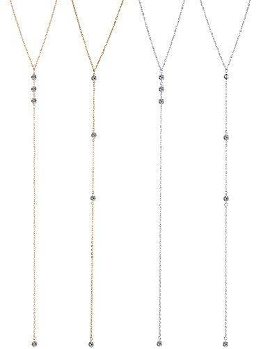 42c23f91871b 4 piezas de collar de gota de espalda vintage con diamantes de imitación  collar.