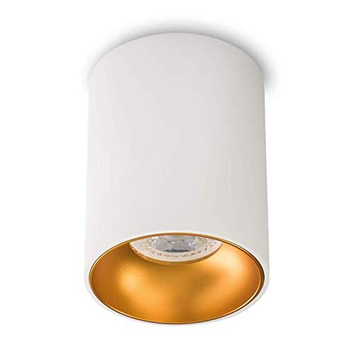 Aufbauleuchte Aufbaustrahler Aufputz ASTRAL (Rund,Weiss/Gold) GU10 Fassung 230V Deckenleuchte Strahler Deckenlampe Würfelleuchte CUBE Kronleuchter aus Aluminium Spot - ohne Leuchtmittel