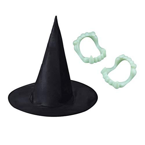 nd Leuchtprothesen Halloween Party Kostüm Requisiten Bühnenshow (1Hat + 12 Leuchtprothesen) ()