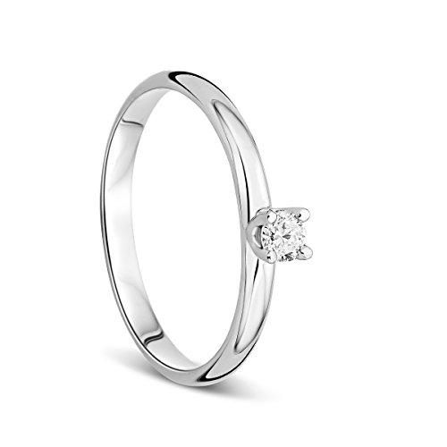 Orovi Anello Donna Solitario in Oro Bianco con Diamante Taglio Brillante Ct 0.10 Oro 9 Kt/375