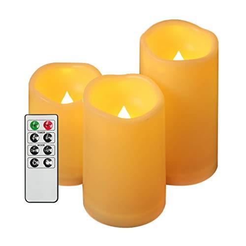 EverBrite 3PC Vela LED Decorativa Candle sin Llama Fuego Vacilante con Control Remoto Pila Incluida para Navidad San Valentin Fiestas