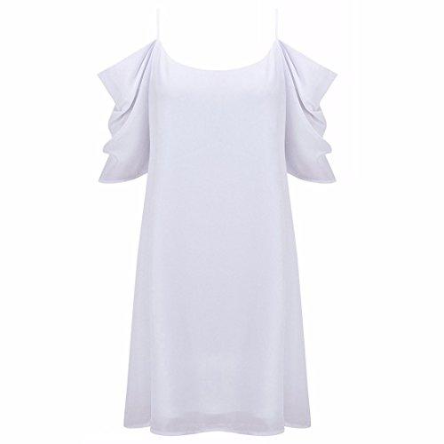 QIYUN.Z Frauen Sommer Halter Ansatz Kalte Schulter Halbes Hülse Chiffon Minikleid Weiß