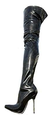 EROGANCE Lack High Heels Crotch Overknee Stiefel Schwarz A10907L / EU 37
