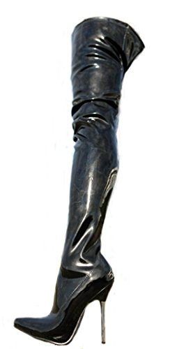 Erogance Lack High Heels Crotch Overknee Stiefel Schwarz A10907L / EU 44