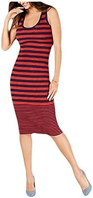Michael Michael Kors Women's Striped Ribbed Knit Midi Length Tank Sweater Dress (, Large)