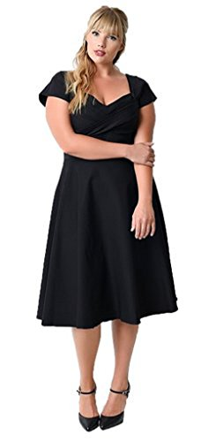 Kleid 50s Plus Größe (Oriention 50er Retro Audrey Hepburn Schwingen Pinup Polka Dots Rockabilly Damen Vintage-Kleid Plus Size  50 (4XL),  )