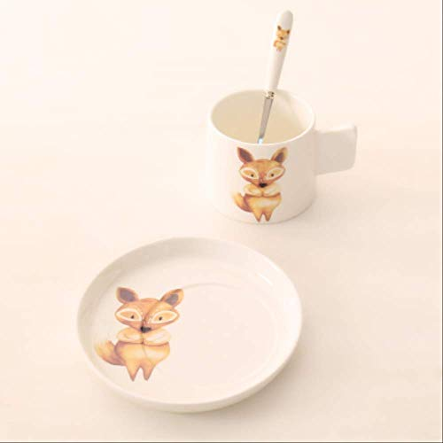 Kaffeebecher Sets Knochen China Kawaii Tier Italienisch Mit Untertasse Löffel Espresso Frühstück Milch Haferflocken Tasse Platte Keramik Cafe 4
