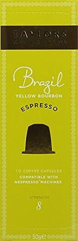 Taylors of Harrogate Espresso Coffee Capsules Nespresso® Compatible Brazil Yellow Bourbon 10 capsules (Pack of 6, Total 60